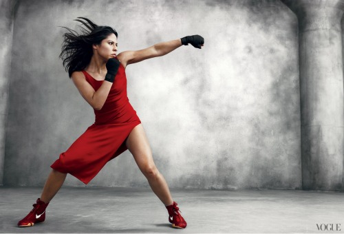 Woman boxing in dress