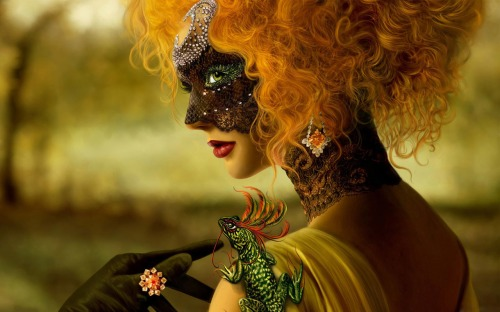 woman wearing a venetian mask